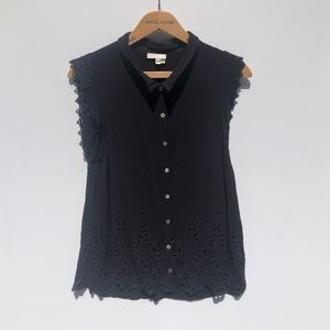 Anthropologie Tops - Anthro Meadow Rue Black Eyelet Sleeveless Top L